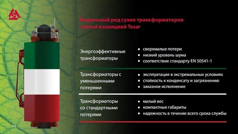 Модельный ряд трансформаторов Tesar