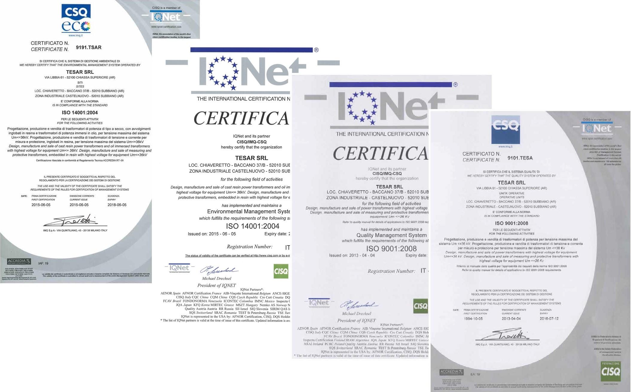Сертификаты ISO на трансформаторы Tesar